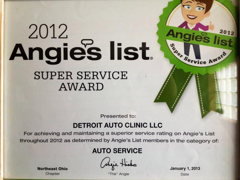 Angie's List 2012 auto repair super service Award
